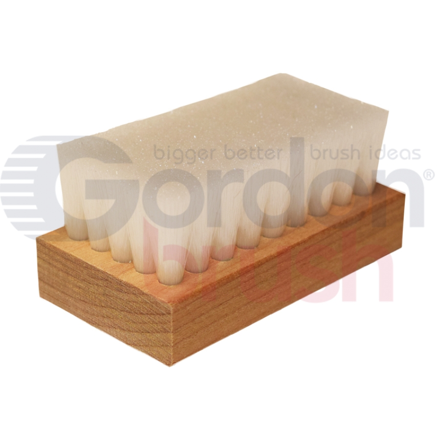 "0.006"" Crimped Plyer Bristle, 2-1/2"" x 1-3/8"" Wood Block Scrub Brush"
