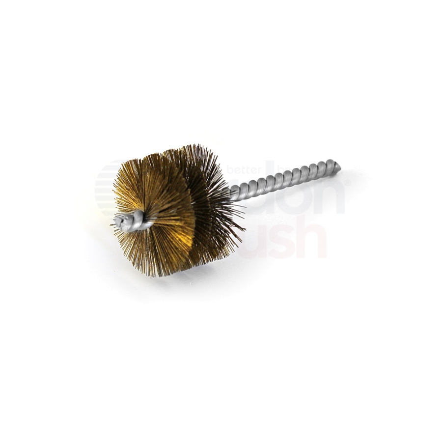 "1-1/2"" Brush Diameter .008"" Wire Diameter Single Spiral Power Brush - Brass"