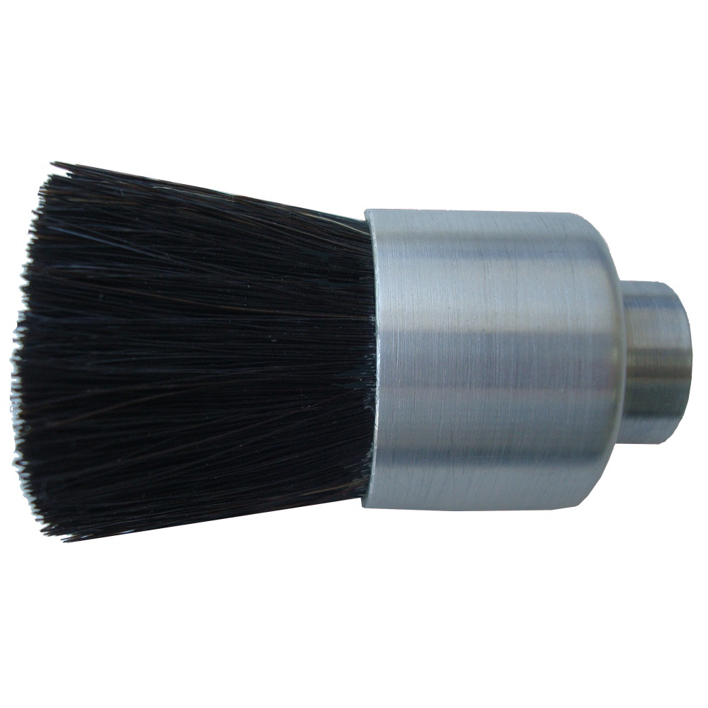 "1-1/8"" Diameter Body, Black Horse Hair Fill, .156"" Orifice, Female Thread, Flow Thru Brush"