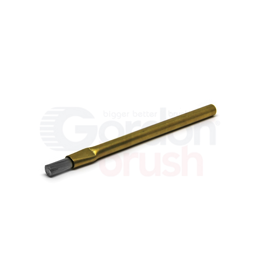 "1/4"" Diameter, 0.006"" Stainless Steel Bristle, Brass Handle and 1/2"" Trim Brass Applicator Brush"