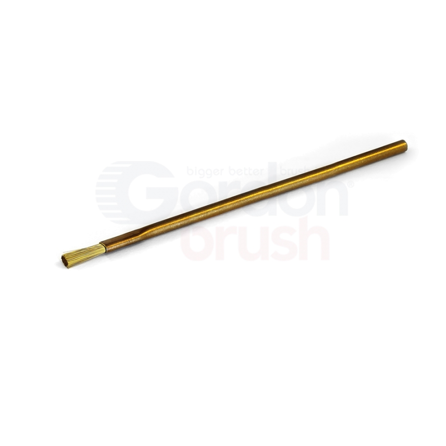 "1/8"" Diameter, .003"" Brass Bristle, 3/8"" Trim and Brass Handle Applicator Brush"