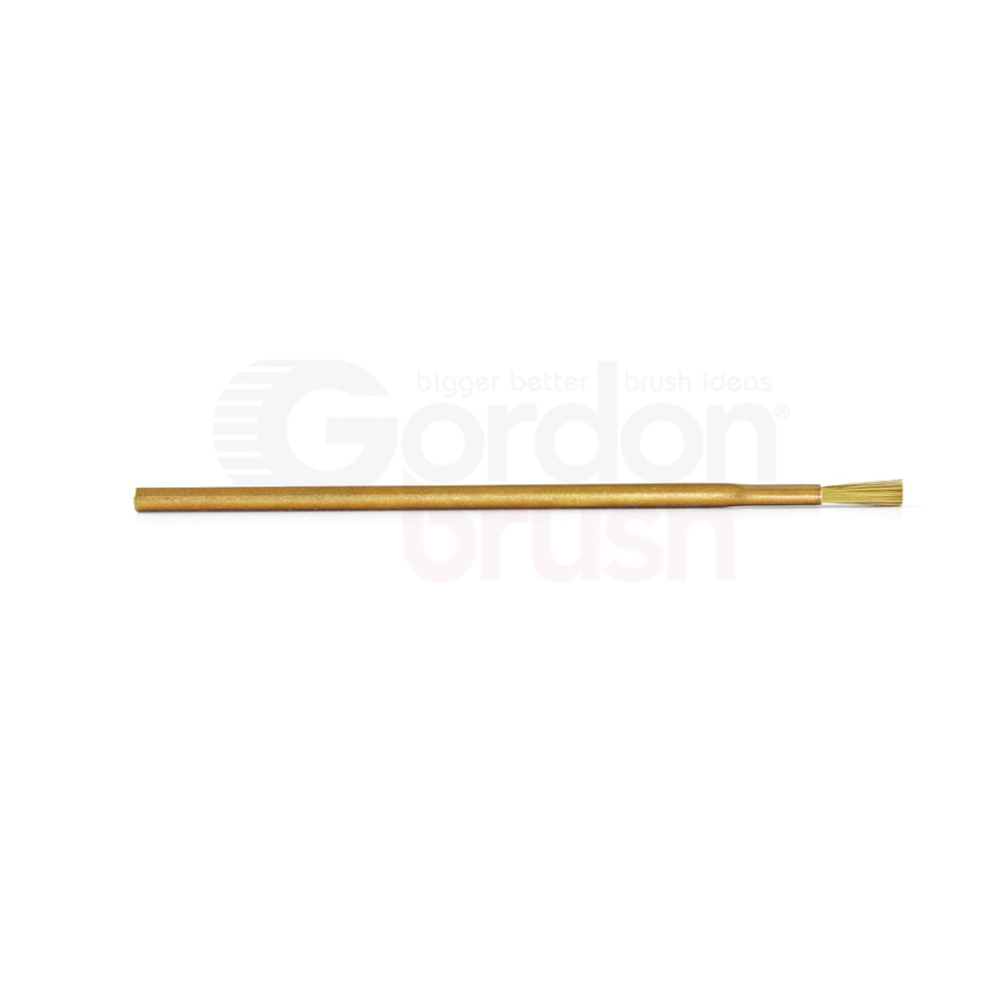 "1/8"" Diameter, .003"" Brass Bristle, 3/8"" Trim and Brass Handle Applicator Brush 2"