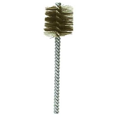 "1"" Brush Diameter .008"" Wire Diameter Single Spiral Power Brush - Brass"
