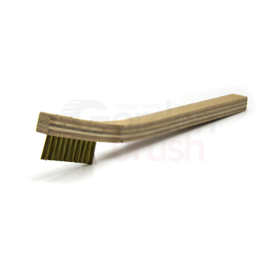 "1 x 10 Row 0.006"" Brass Bristle and Plywood Handle Scratch Brush 1"