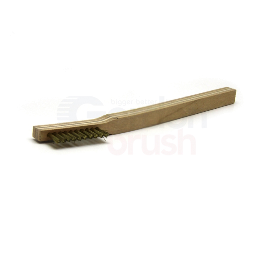 "1 x 10 Row 0.006"" Brass Bristle and Plywood Handle Scratch Brush 2"