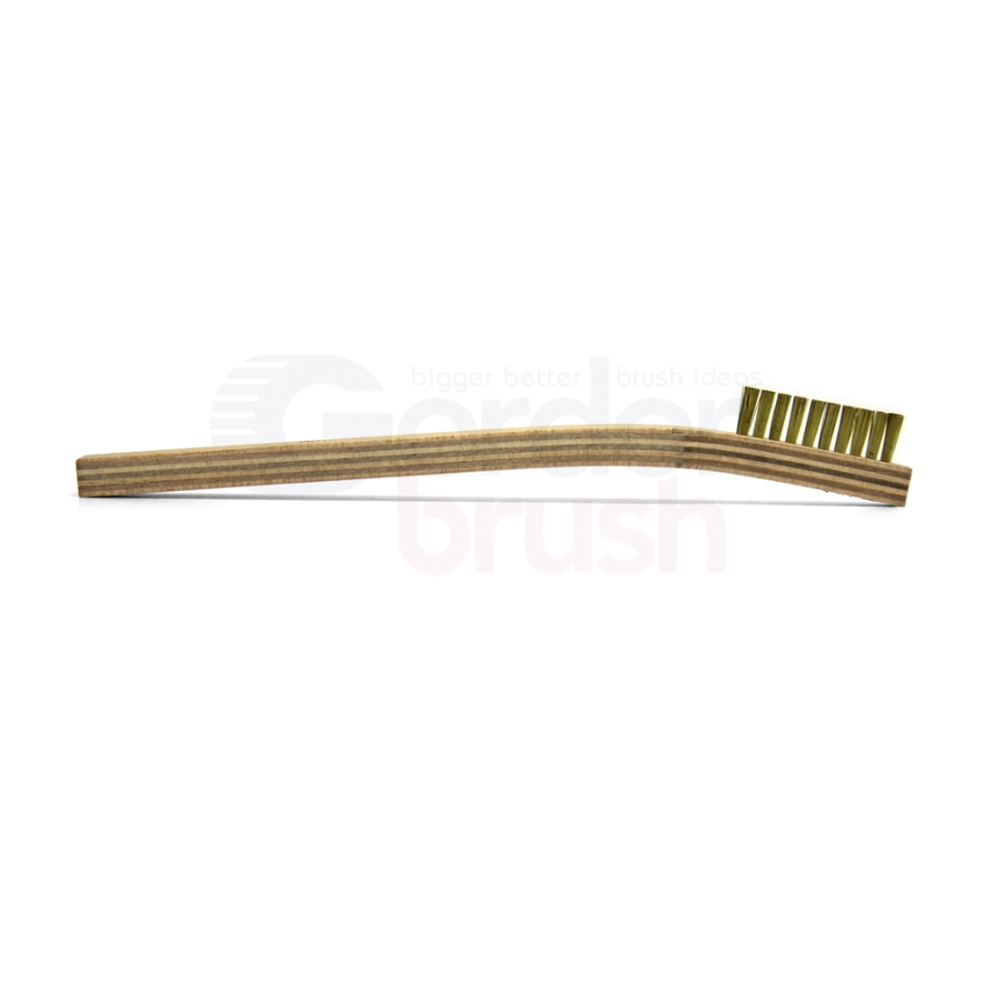 "1 x 10 Row 0.006"" Brass Bristle and Plywood Handle Scratch Brush 3"