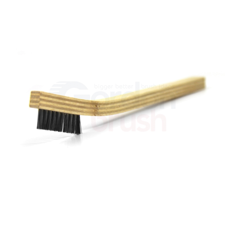 "1 x 10 Row 0.006"" Stainless Steel Bristle and Plywood Handle Scratch Brush"