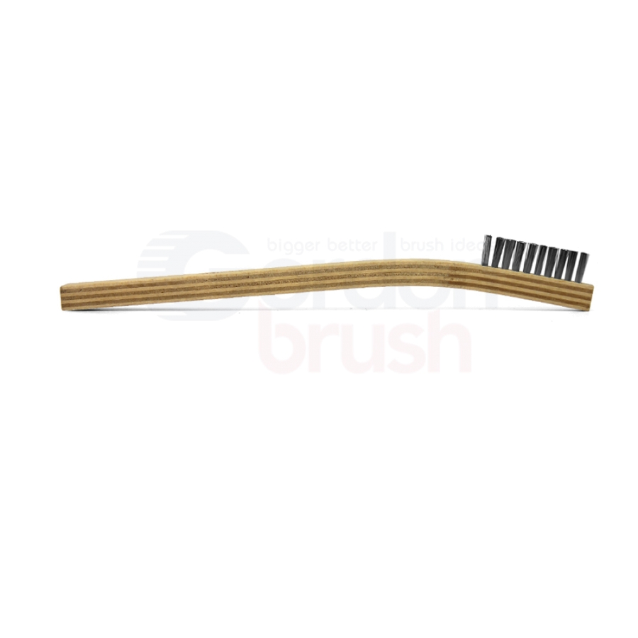 "1 x 10 Row 0.006"" Stainless Steel Bristle and Plywood Handle Scratch Brush 3"