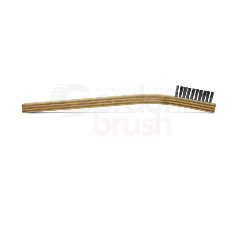 "1 x 10 Row .003"" Stainless Steel and Plywood Handle Scratch Brush 3"