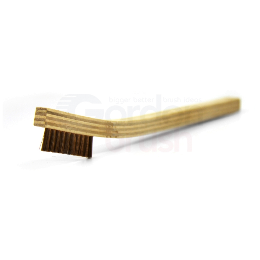 "1 x 10 Row .006"" Phosphor Bronze Bristle and Plywood Handle Scratch Brush"