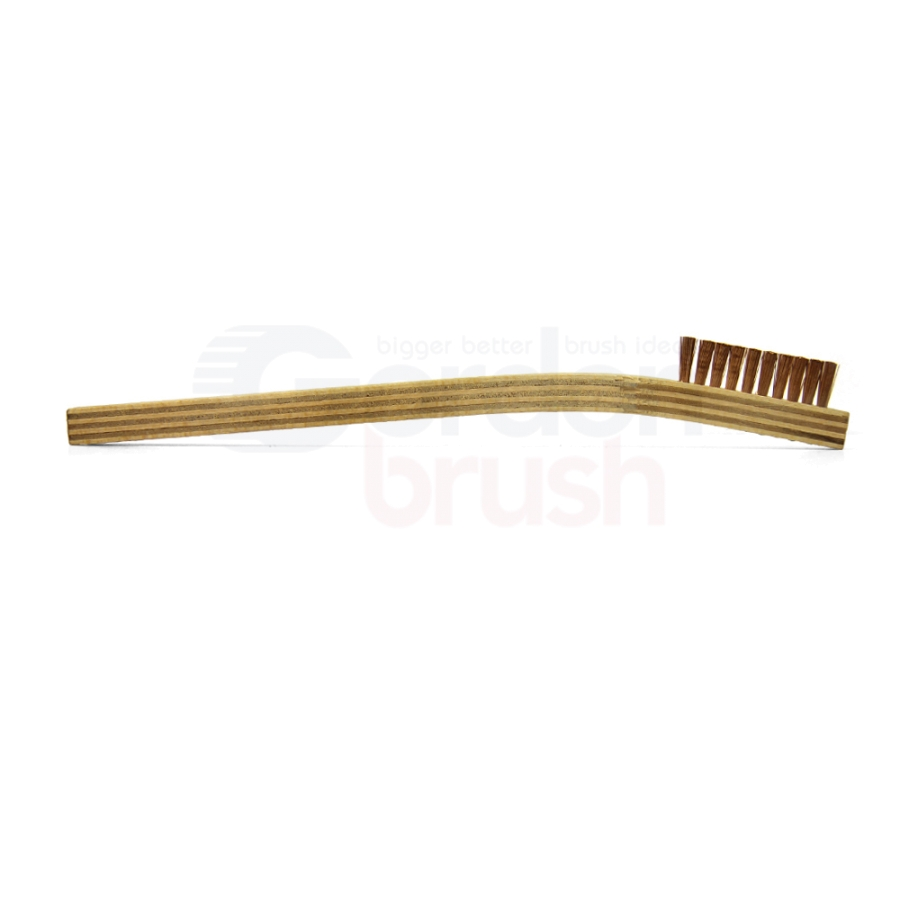 "1 x 10 Row .006"" Phosphor Bronze Bristle and Plywood Handle Scratch Brush 3"