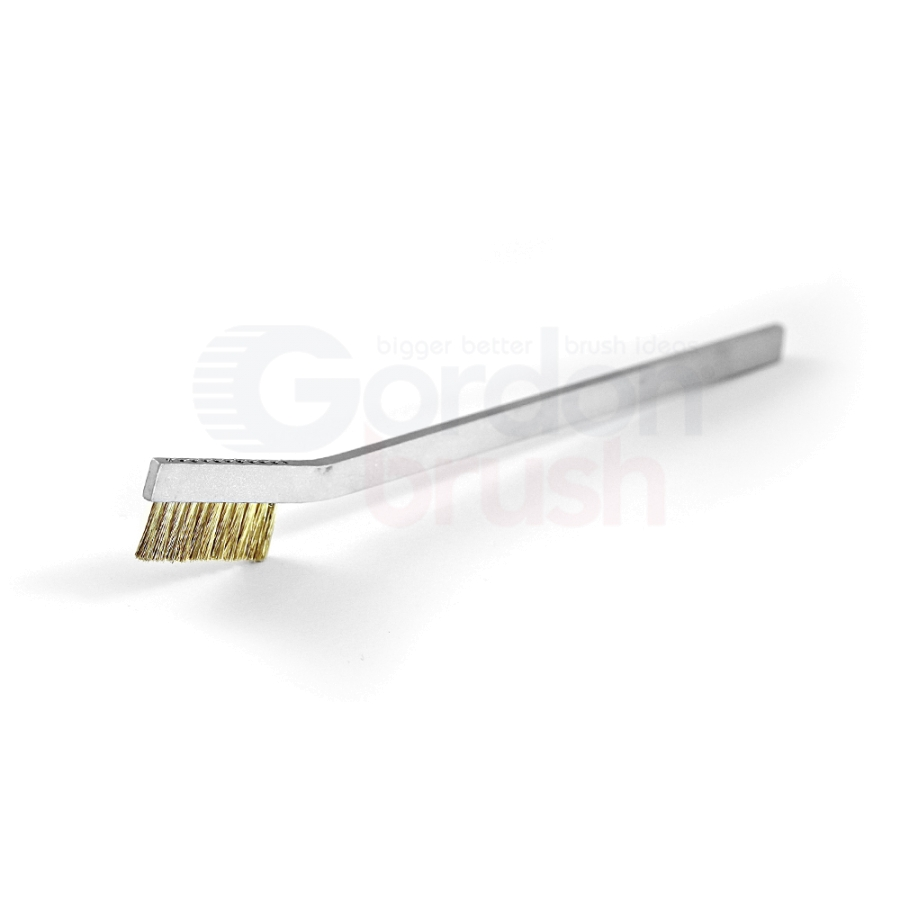 "1 x 11 Row 0.003"" Brass Wire and Aluminum Handle Hand-Laced Scratch Brush"