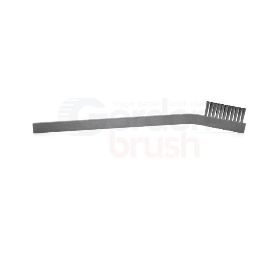 "1 x 11 Row 0.003"" Stainless Steel Wire and Aluminum Handle Hand-Laced Scratch Brush 3"