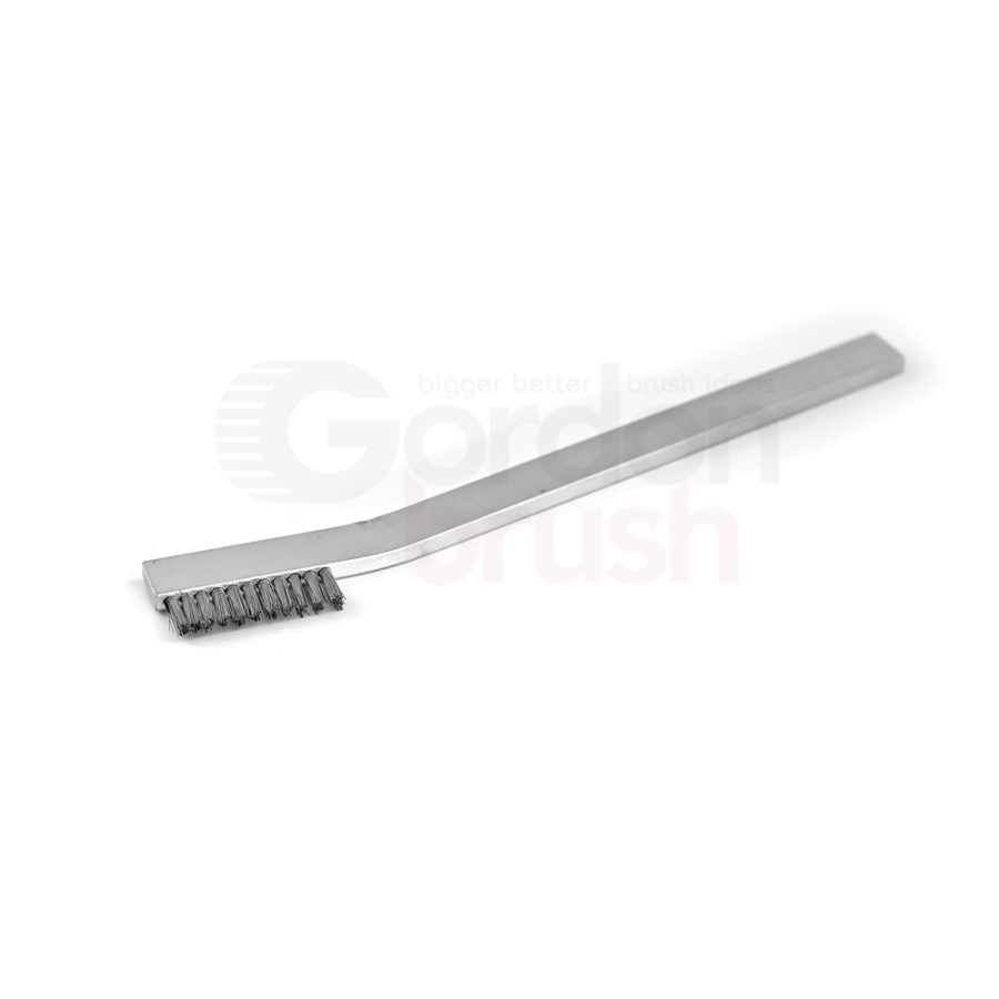 "1 x 11 Row 0.006"" Stainless Steel Wire and Aluminum Handle Heavy Duty Hand-Laced Scratch Brush 2"