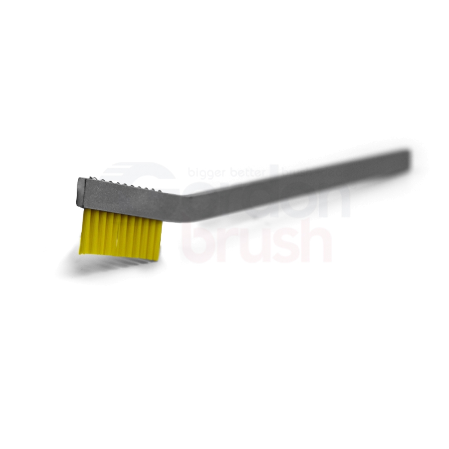 "1 x 11 Row 0.016"" Static Dissipative Nylon Bristle and Aluminum Handle Hand-Laced Brush"
