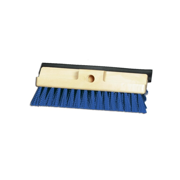 "10"" Three Surface Deck Scrub with Stiff Blue Polypropylene and Squeegee Blade"