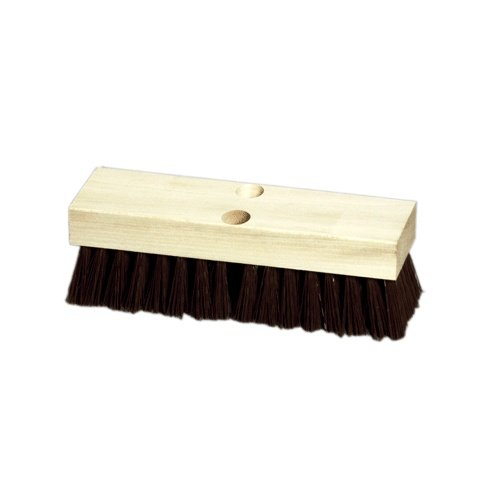 "10"" Wood Block Deck Scrub with Stiff Brown Polypropylene"