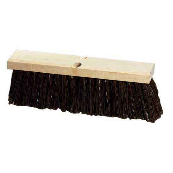"18"" Street Broom with Extra-Stiff Polypropylene Bristle and Wood Block"