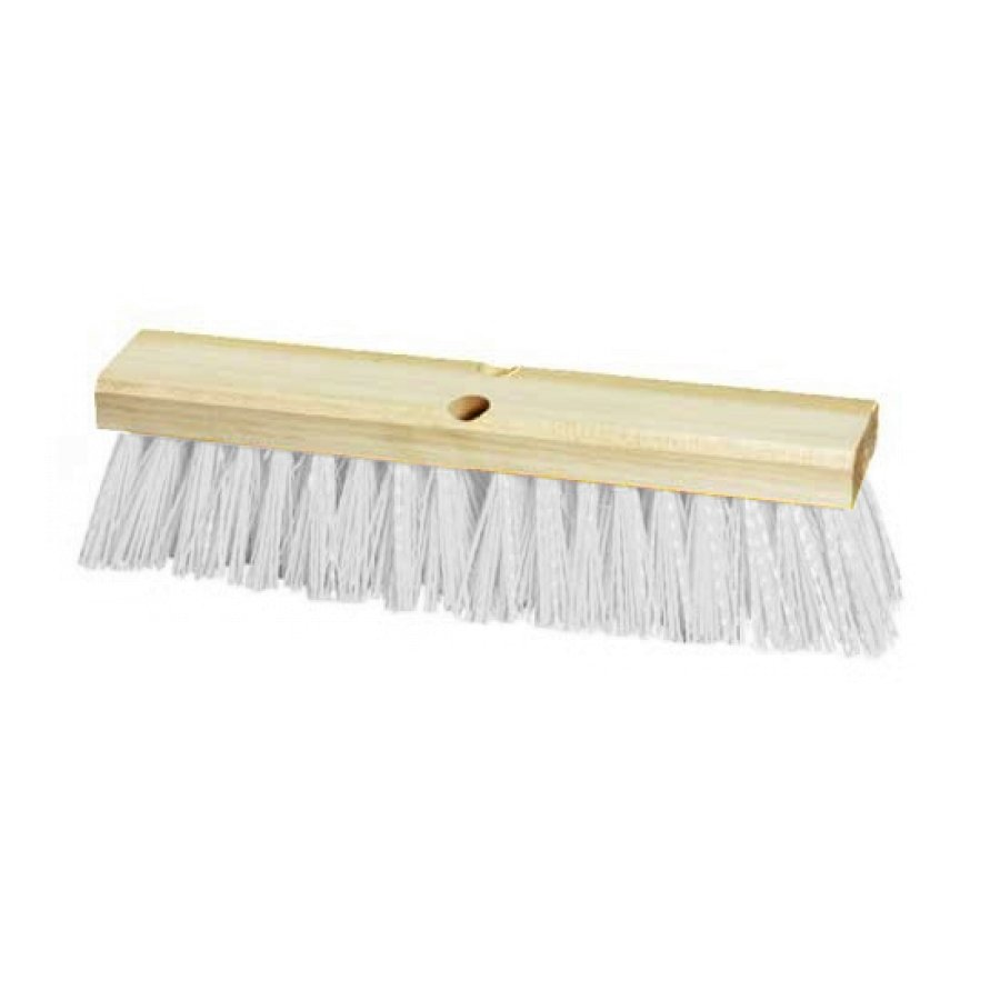"18"" Street Broom with Stiff Polypropylene Bristle and Wood Block"