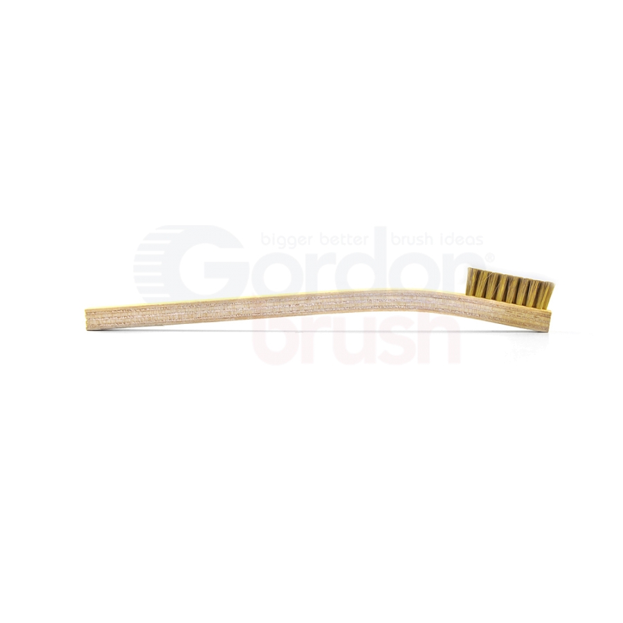 "2 x 8 Row 0.006"" Brass Bristle and Plywood Handle Scratch Brush 3"