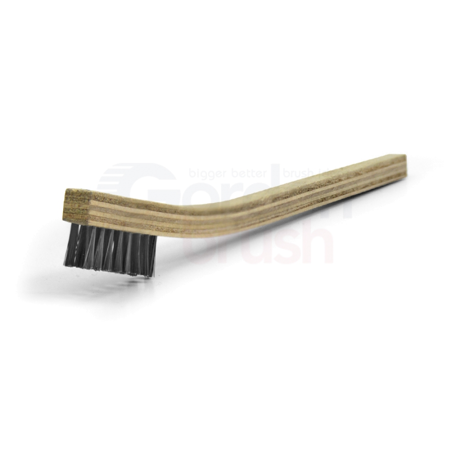 "2 x 8 Row 0.006"" Stainless Steel Bristle and Plywood Handle Scratch Brush 1"