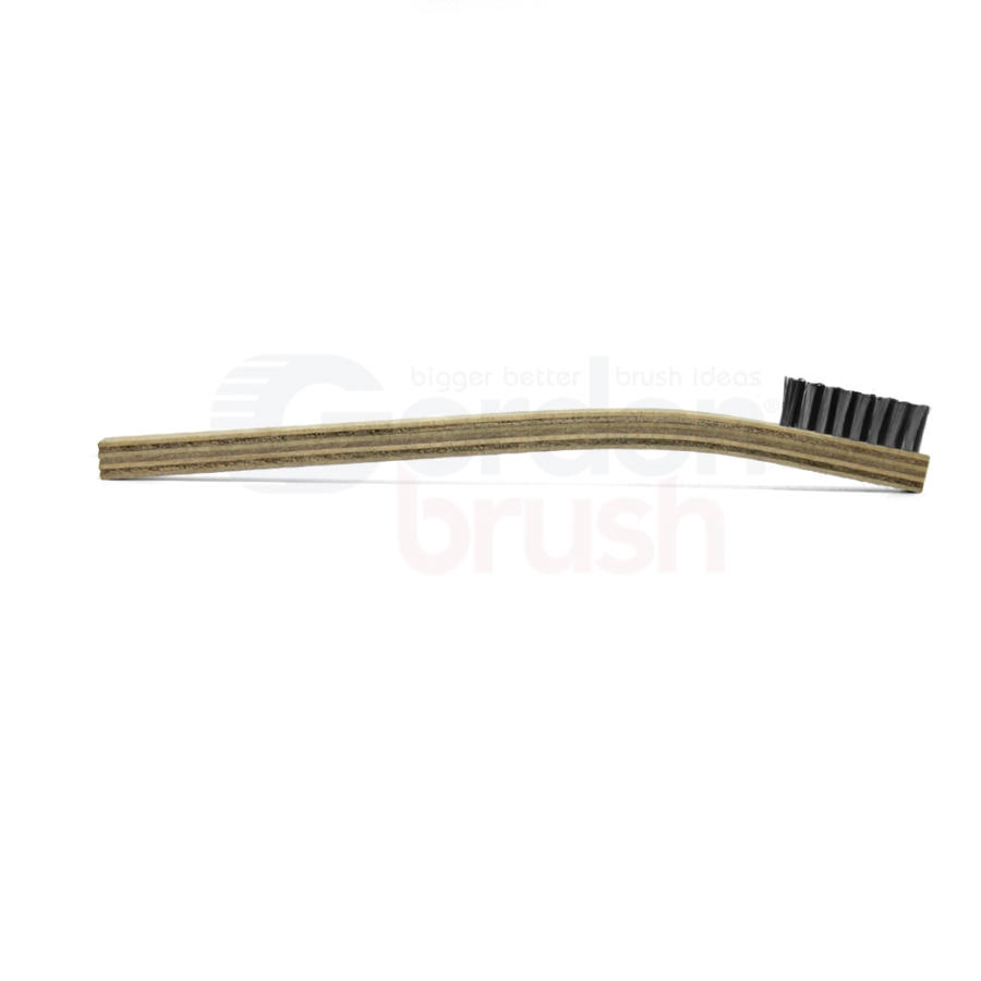 "2 x 8 Row 0.006"" Stainless Steel Bristle and Plywood Handle Scratch Brush 3"