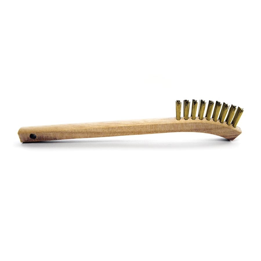 "2 X 9 Row 0.012"" Brass Bristle and Wood Handle Brush"