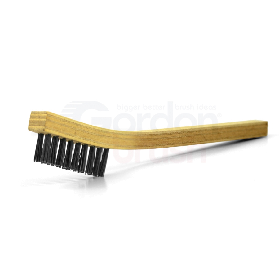 "2 x 9 Row 0.018"" Nylon Bristle and Wood Handle  Brush"