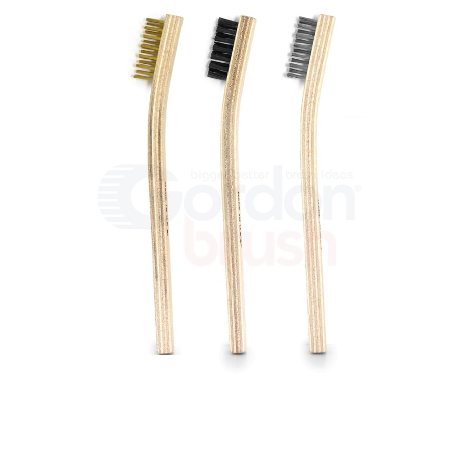 3 Scratch Brush Set: Brass, Stainless Steel, Nylon Bristle and Plywood Handles