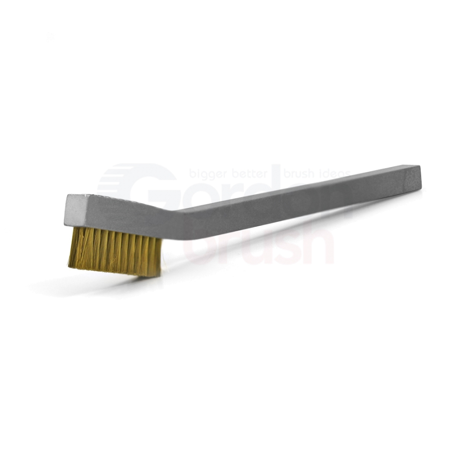 "3 x 11 Row 0.003"" Brass Wire and Aluminum Handle Hand-Laced Scratch Brush"