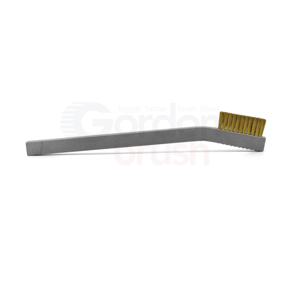 "3 x 11 Row 0.003"" Brass Wire and Aluminum Handle Hand-Laced Scratch Brush 3"