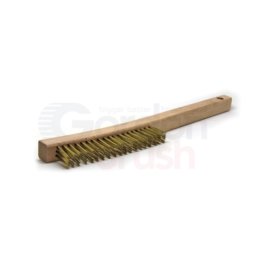 "3 x 19 Row 0.006"" Brass Wire and 13-3/4"" Curved Wood Handle Plater's Brush 2"