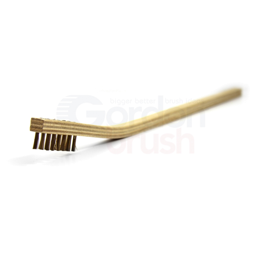 "3 x 7 Row 0.006"" Brass Bristle and Long Handle Plywood Scratch Brush"