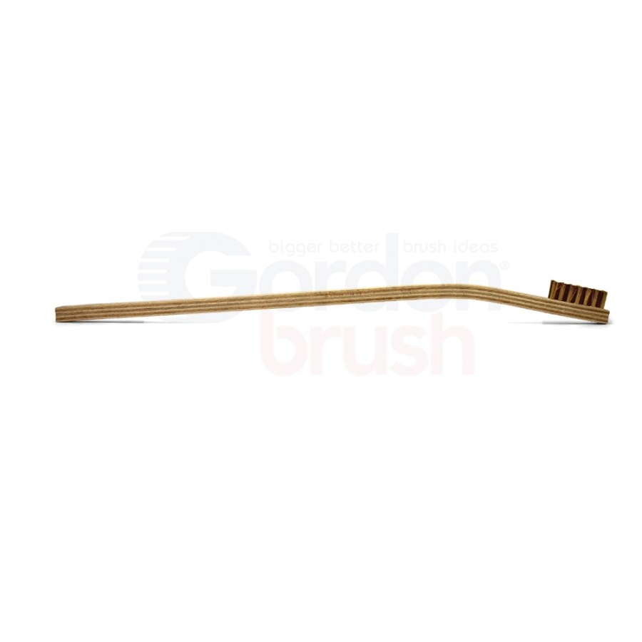 "3 x 7 Row 0.006"" Brass Bristle and Long Handle Plywood Scratch Brush 3"