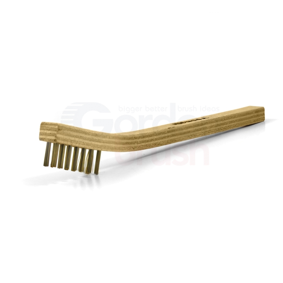 "3 x 7 Row 0.006"" Brass Bristle and Plywood  Handle Scratch Brush"