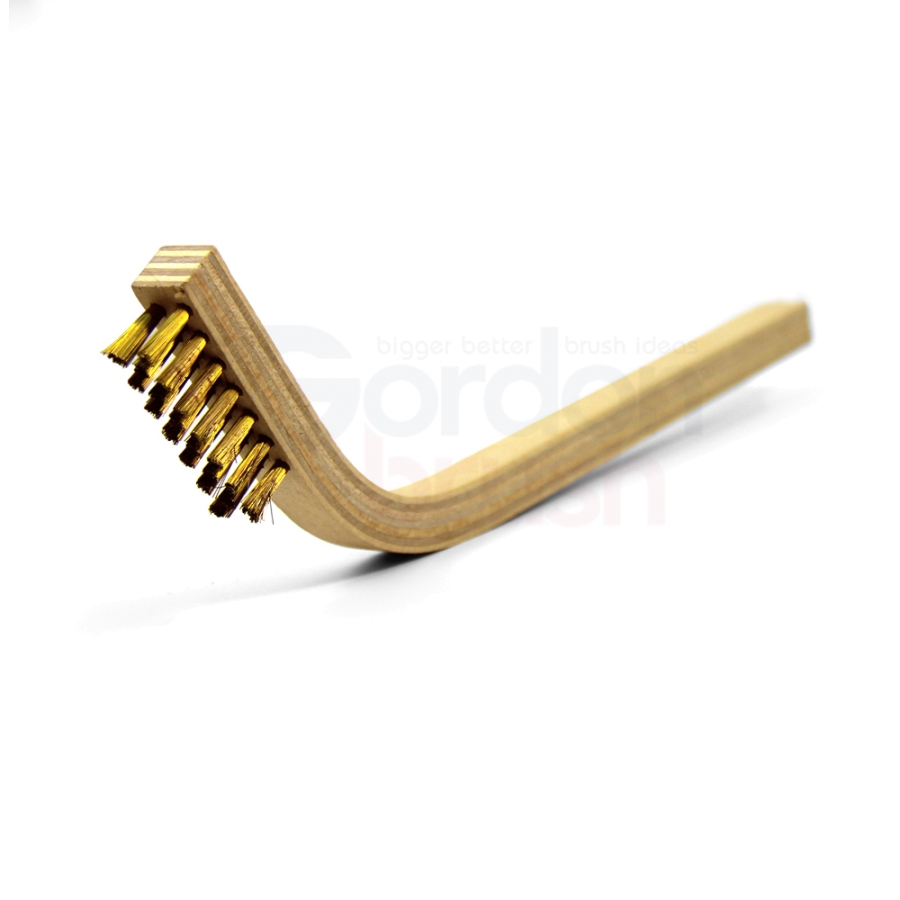 "3 x 7 Row 0.006"" Brass Wire and 60° Bent Handle Scratch Brush"
