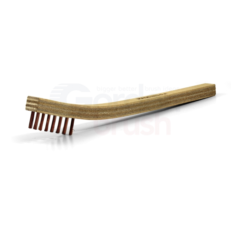 "3 x 7 Row 0.006"" Phosphor Bronze Bristle and Plywood Handle Scratch Brush"