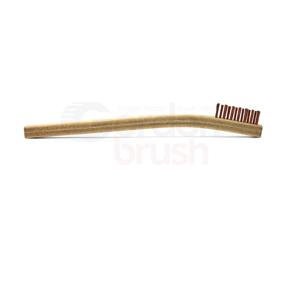 "3 x 7 Row 0.006"" Phosphor Bronze Bristle and Plywood Handle Scratch Brush 3"