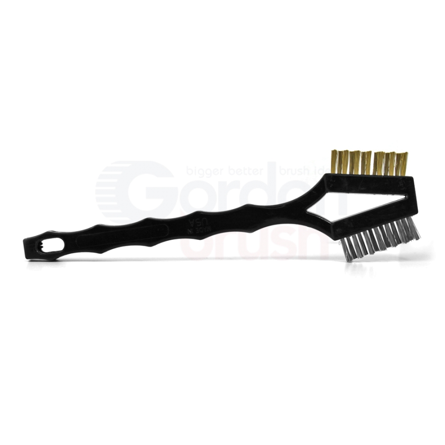 "3 x 7 Row 0.006"" Stainless Steel and 0.006"" Brass Bristle, Plastic Handle Double-Headed Brush 3"