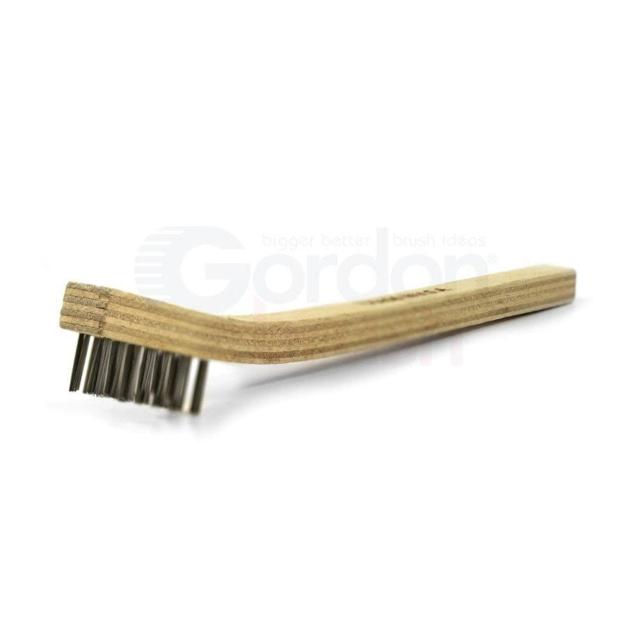 "3 x 7 Row 0.006"" Stainless Steel Bristle and Plywood Handle Scratch Brush 1"