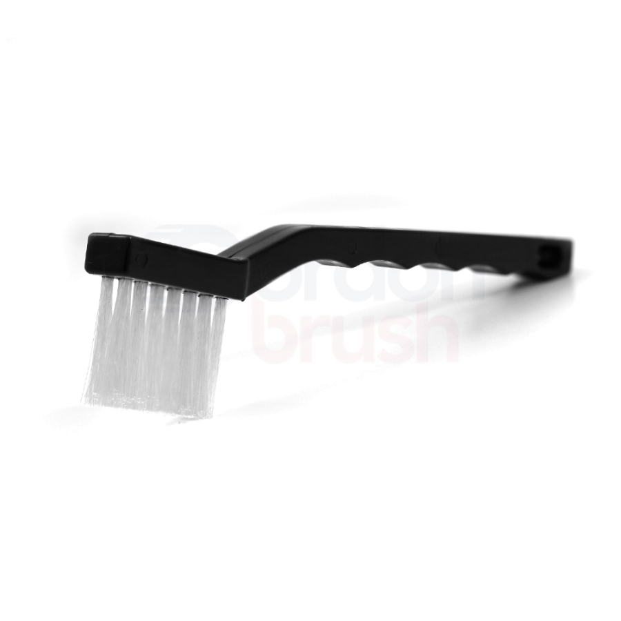 "3 x 7 Row 0.008"" Nylon Bristle and Plastic Handle Long Trim Scratch Brush"