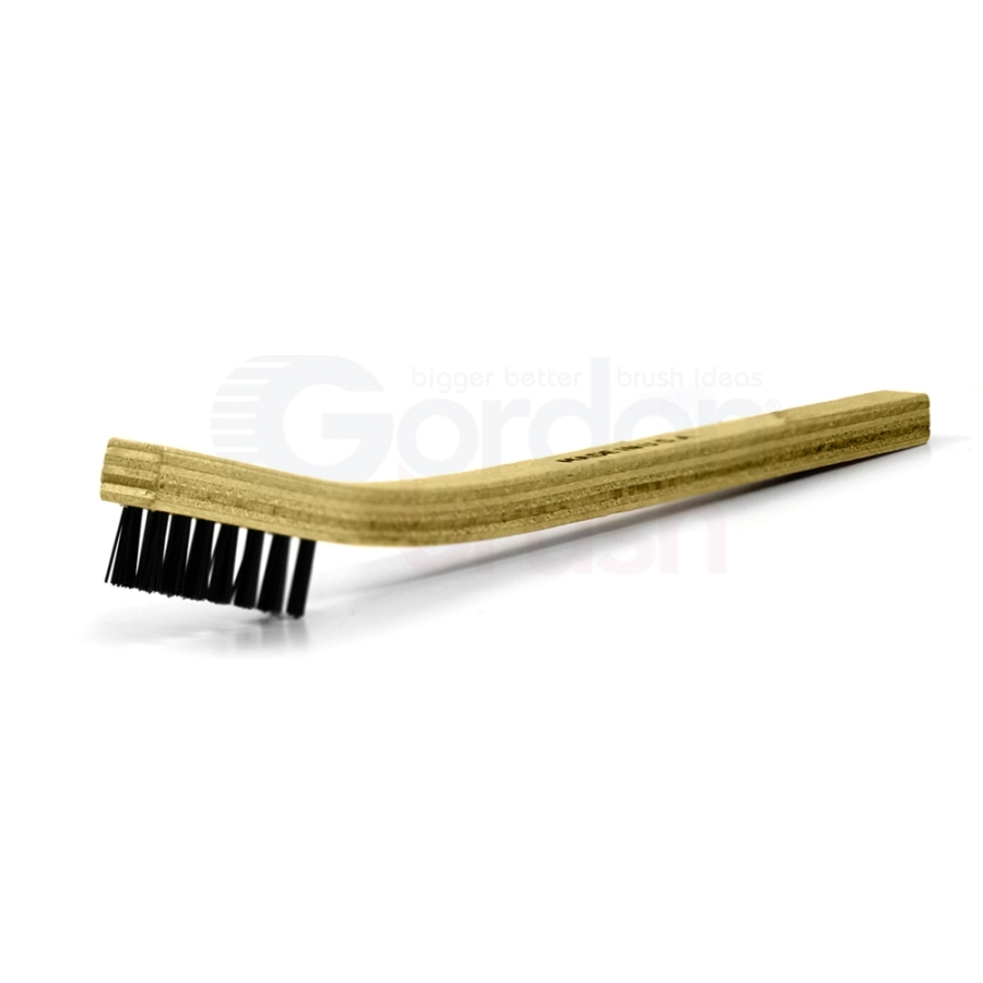 "3 x 7 Row 0.018"" Nylon Bristle and Plywood Handle Scratch Brush"
