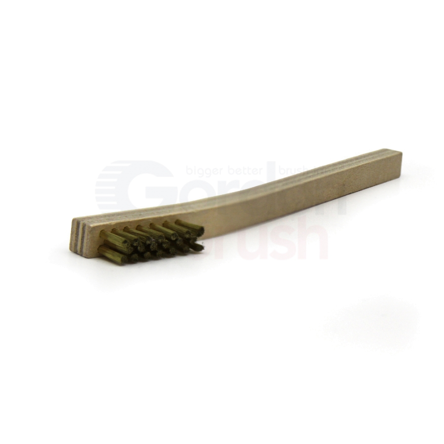 "3 x 7 Row .003"" Brass Bristle and Plywood Handle Scratch Brush 2"