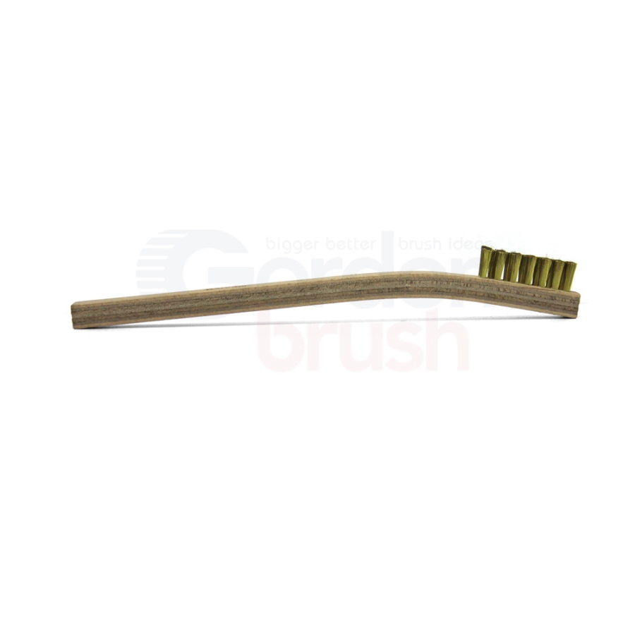"3 x 7 Row .003"" Brass Bristle and Plywood Handle Scratch Brush 3"