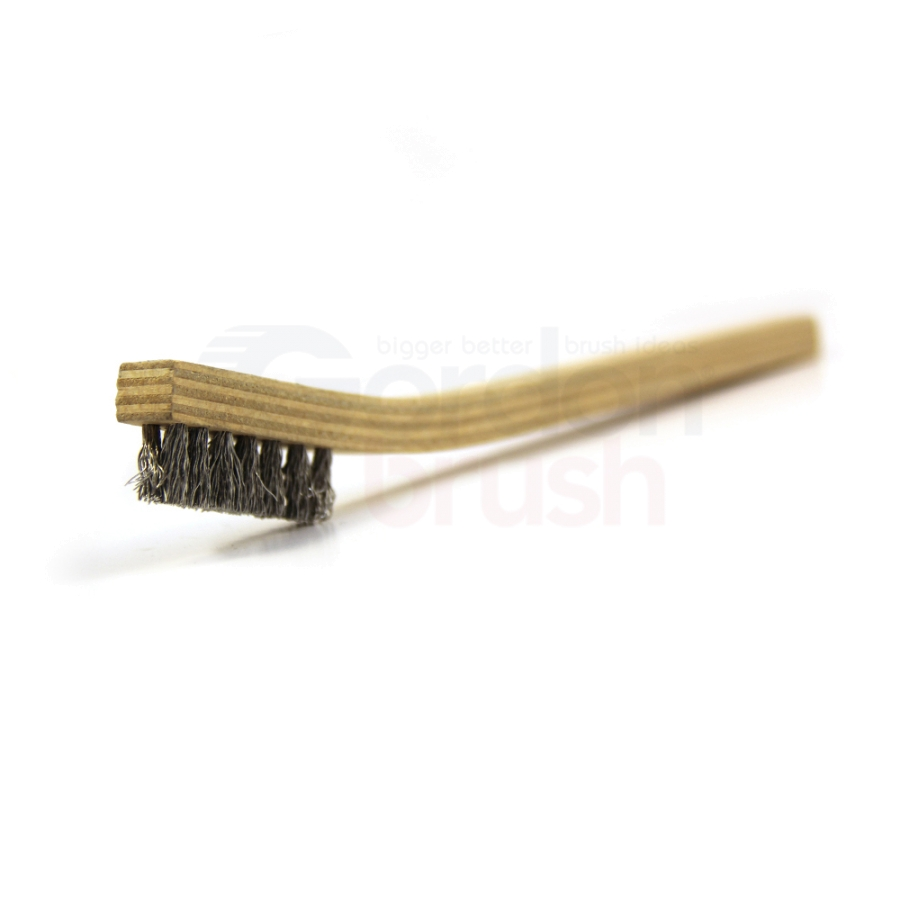 "3 x 7 Row .008"" Aluminum Bristle and Plywood Handle Scratch Brush"