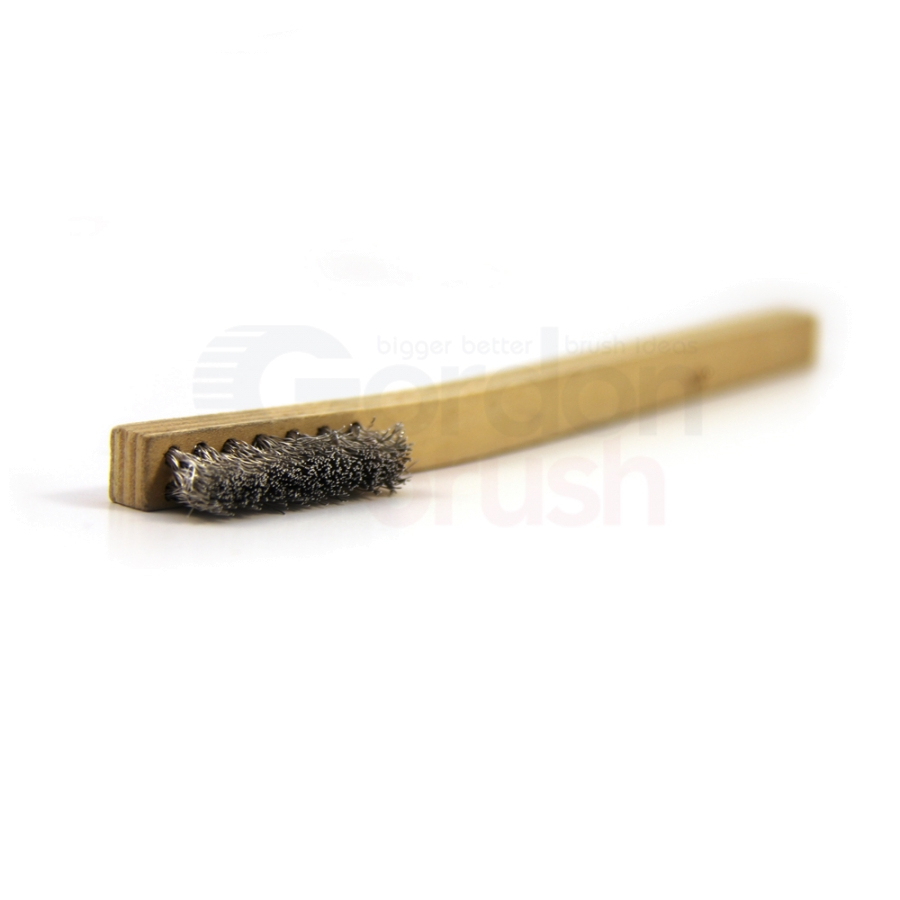 "3 x 7 Row .008"" Aluminum Bristle and Plywood Handle Scratch Brush 2"