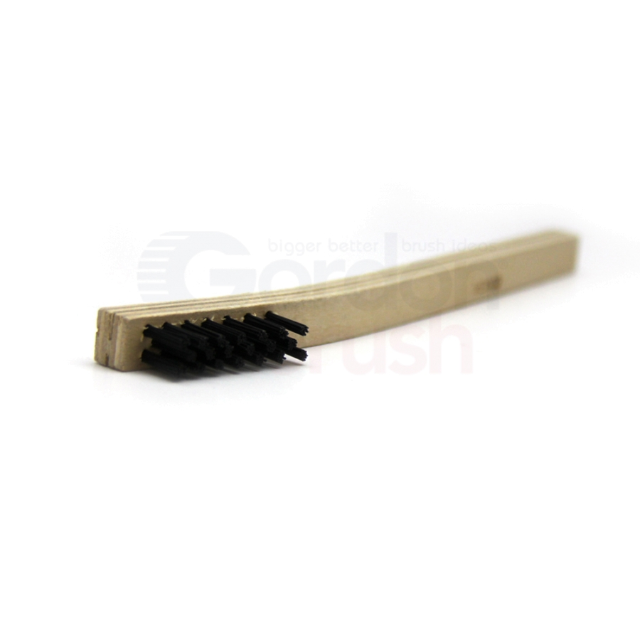 "3 x 7 Row .018"" Nylon Bristle and Plywood Handle Brush 2"