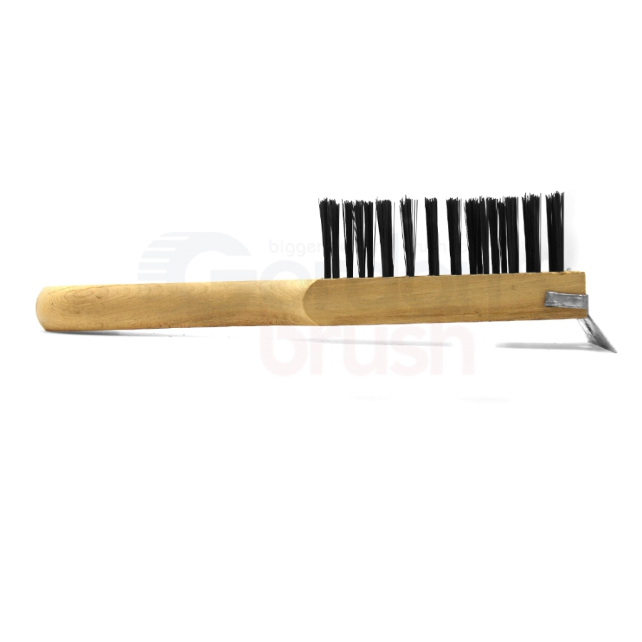 "4 x 11 Row 0.014"" Carbon Steel Wire and Wood Handle with Scraper Heavy Duty Scratch Brush 3"