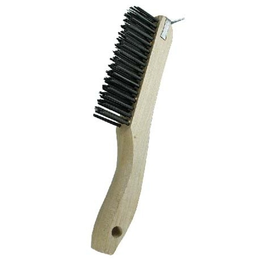 "4 x 16 Row 0.012"" Stainless Steel Wire and Wood Shoe Handle with Scraper Scratch Brush"