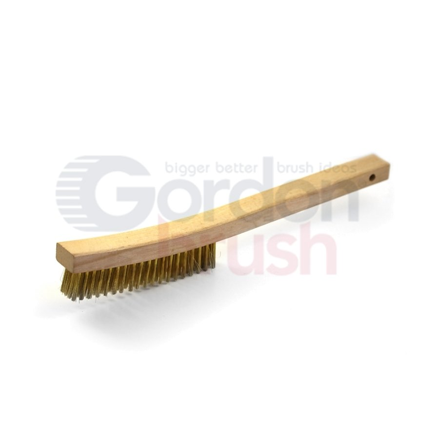 "4 x 19 Row 0.012"" Brass Wire and 13-3/4"" Curved Wood Handle Scratch Brush"